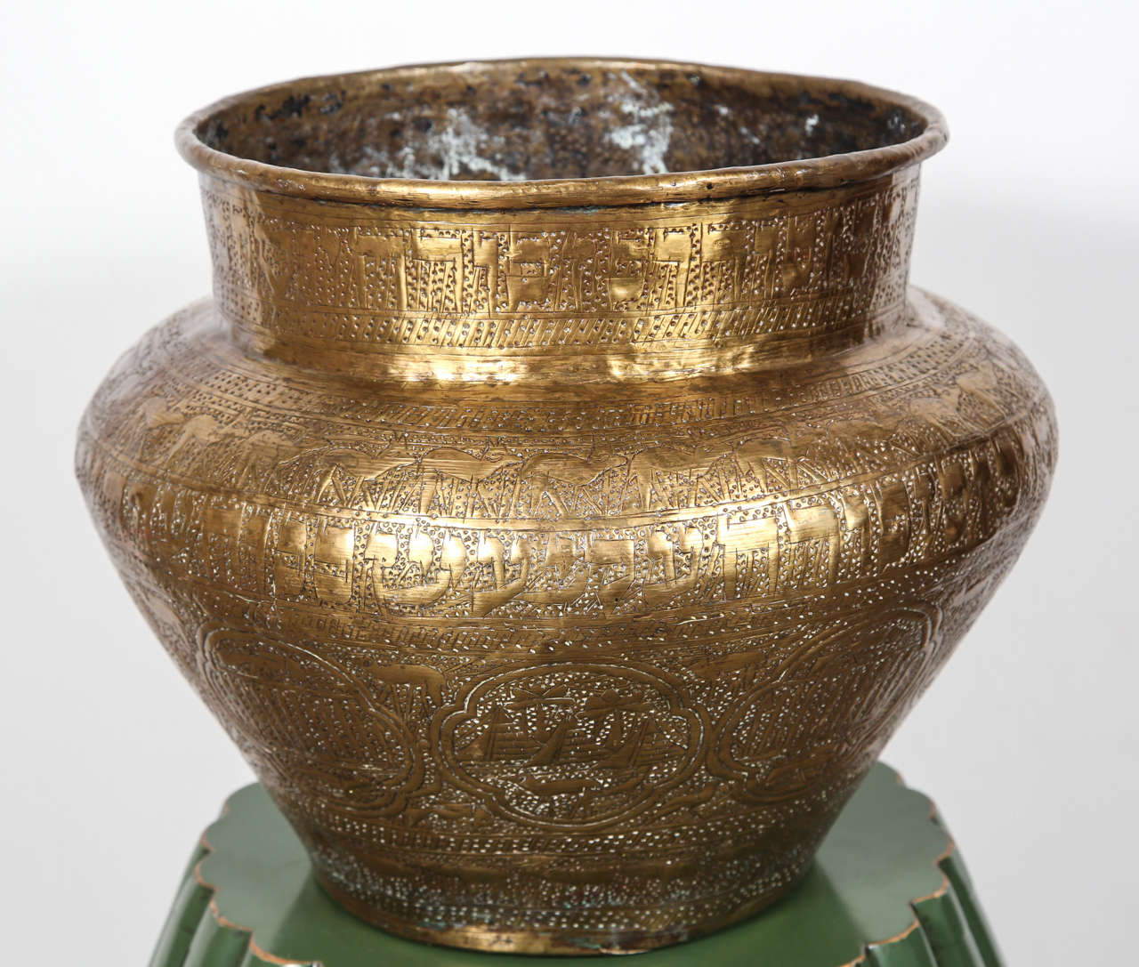 Egyptian hebraique revival hand etched brass pot at 1stdibs 19th century large jewish egyptian finely hand etched brass memorial bowl decorated with medallions with hebrew reviewsmspy