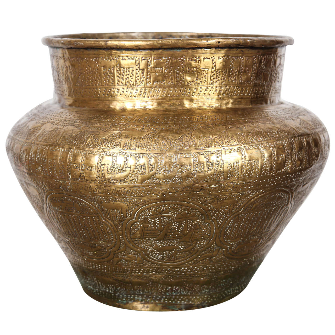 Egyptian hebraique revival hand etched brass pot at 1stdibs for Agal vilakku decoration