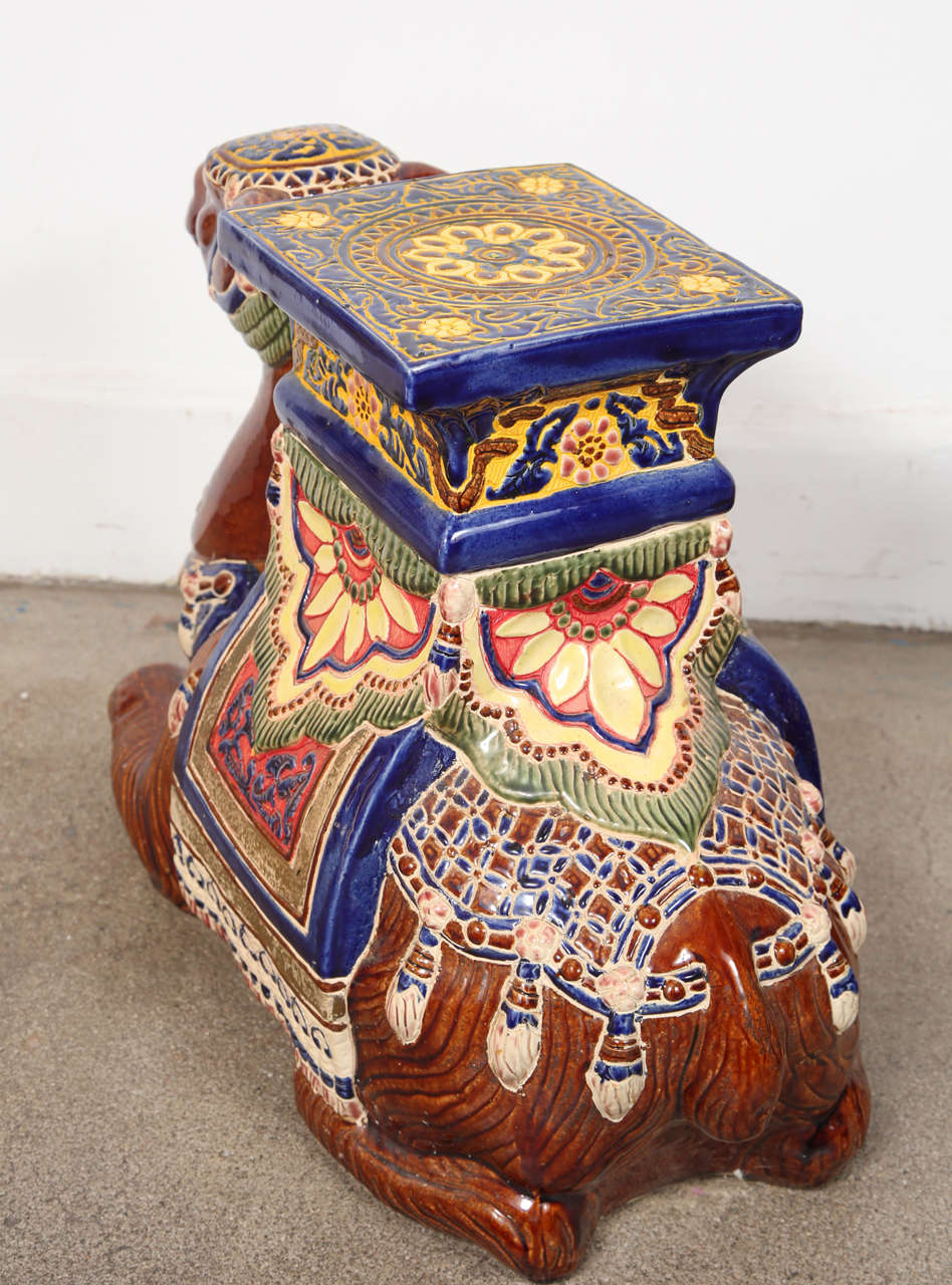 Pair Of Camel Ceramic Garden Seat Or Side Tables At 1stdibs