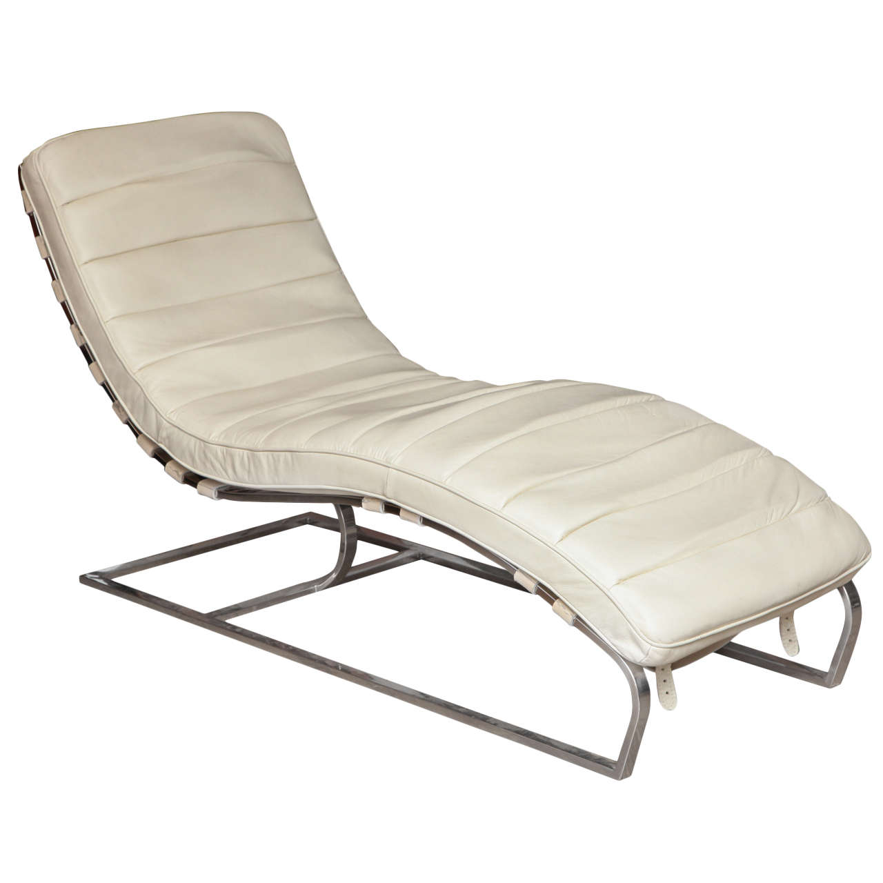 White leather chaises longue at 1stdibs for Chaise longue leather