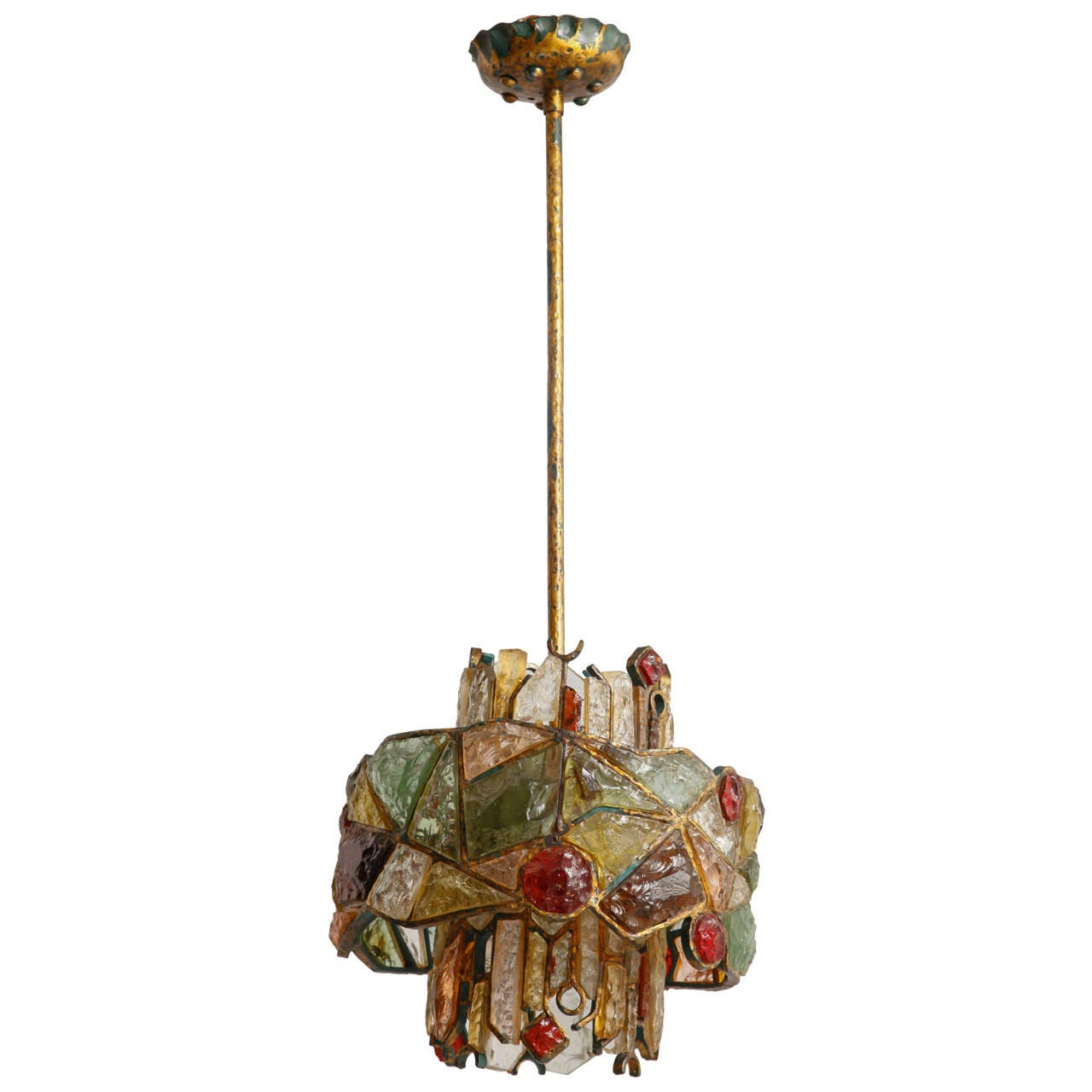 Large Brutalist Poliarte Two Tiers Chandelier 2