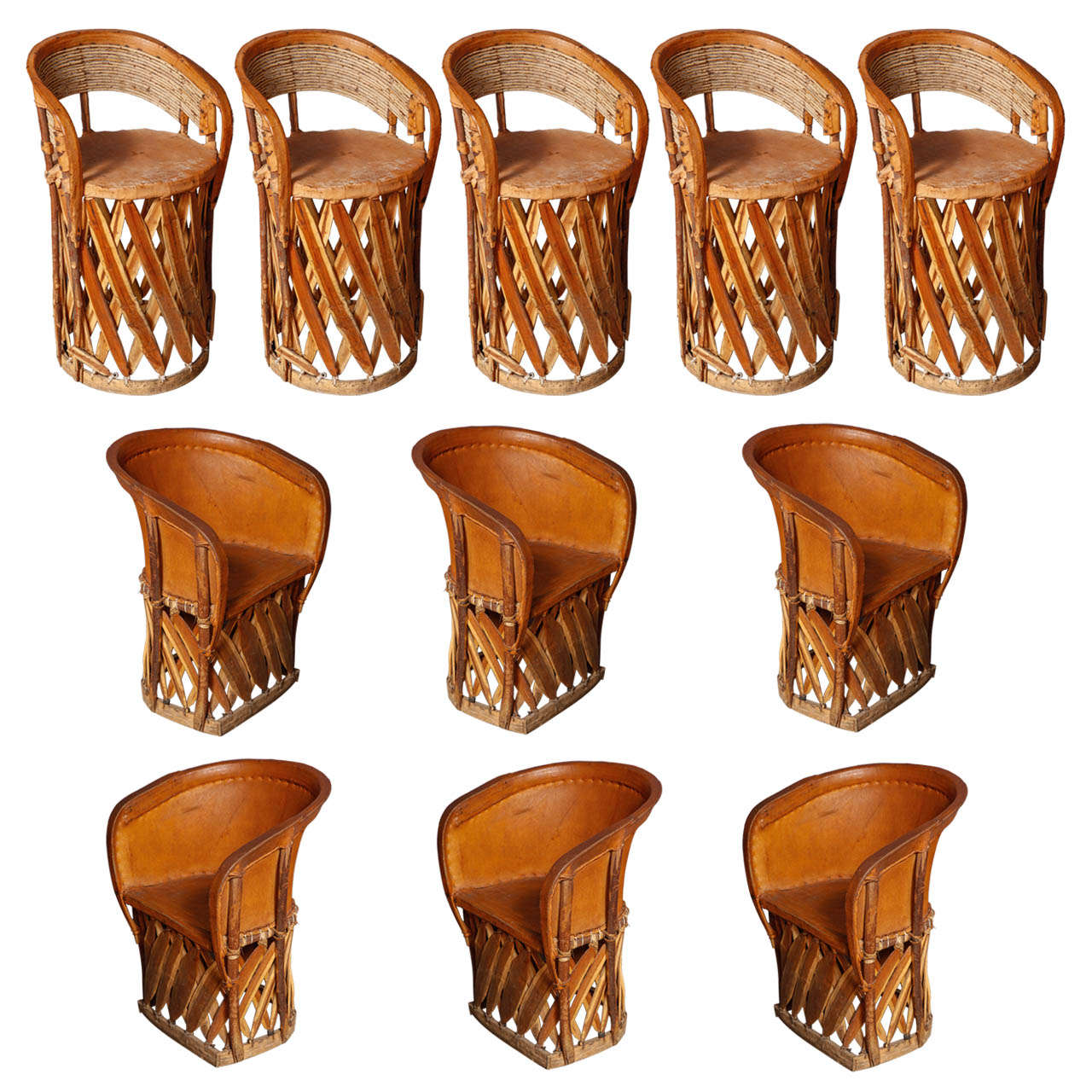 Set Of 11 Mexican Origin Equipale Chairs At 1stdibs