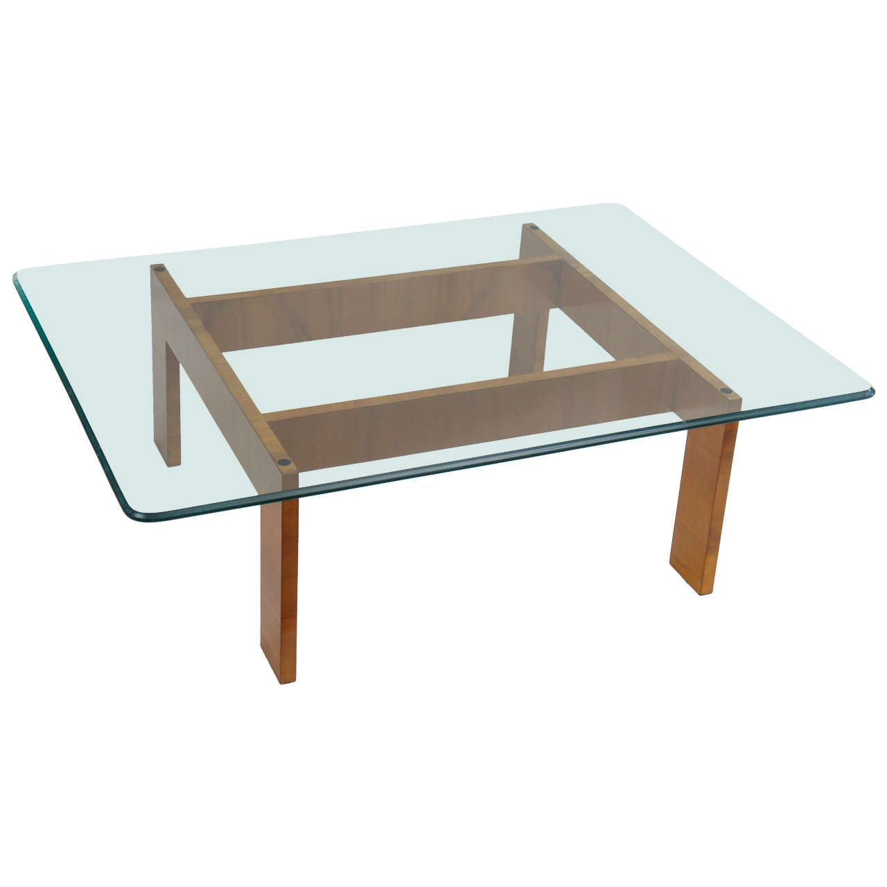 Beveled Glass And Wood Rectangular Coffee Table At 1stdibs