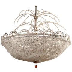Art Deco Rene Lalique Style, Crystal Basket Chandelier