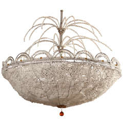Art Deco Rene Lalique Style, Crystal Basket Chandelier