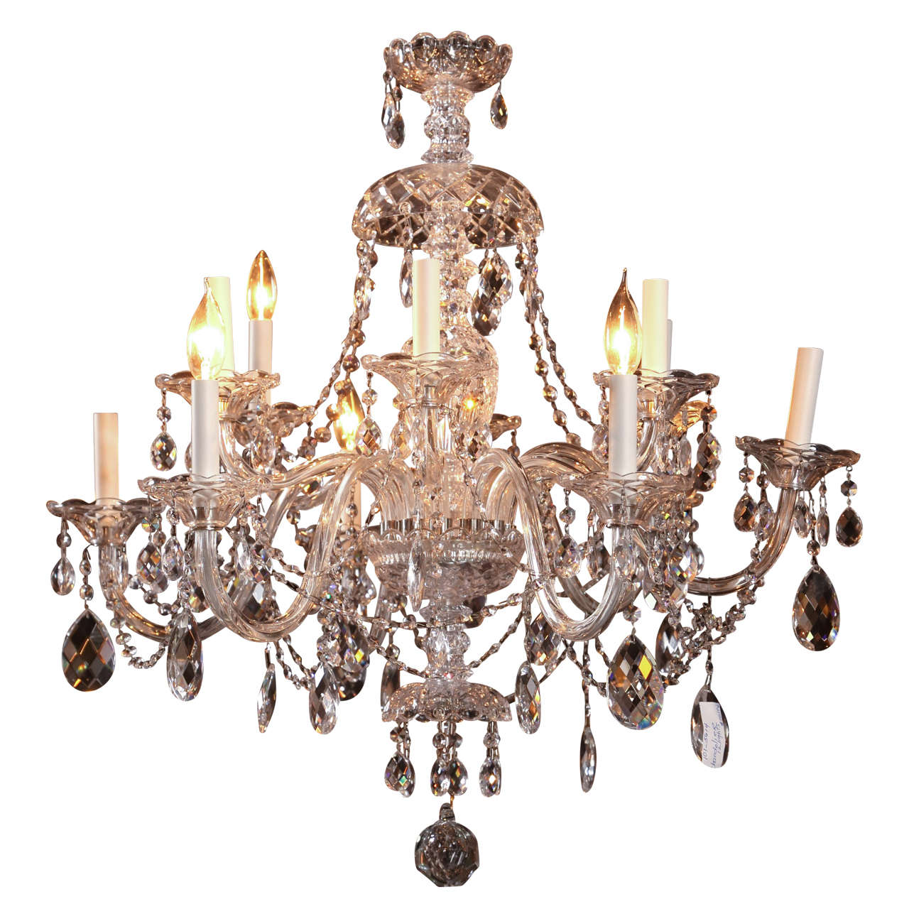 Fine Cut Crystal Twelve Arm Chandelier Possibly Waterford