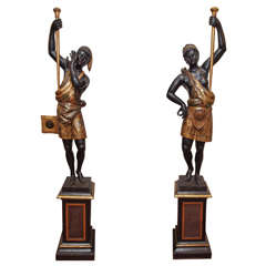Pair of Venetian Polychromed, Blackamoor Figures