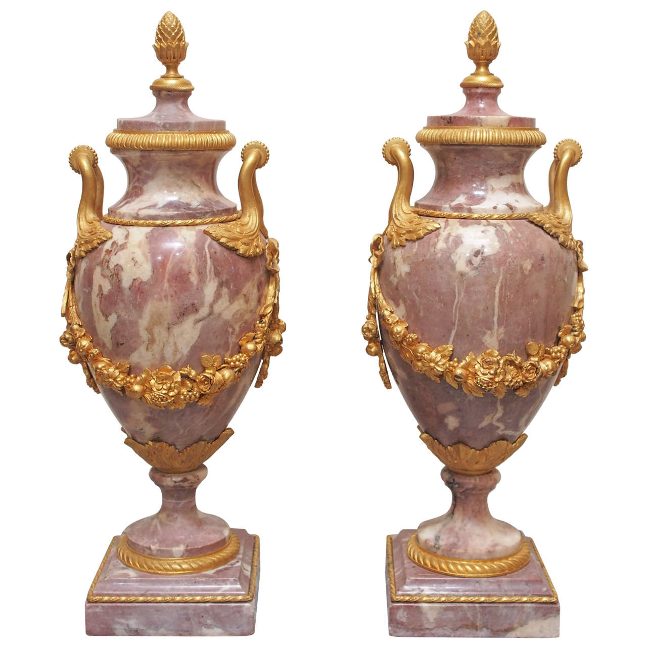 19th Century Gilt Bronze, Mounted Marble Garniture Urns