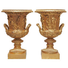 Pair of 19th Century Grand Tour, Gilt Bronze Borghese Urns