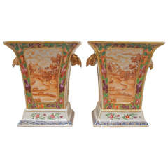 Pair of 19th Century, Chinese Export Bough Pots