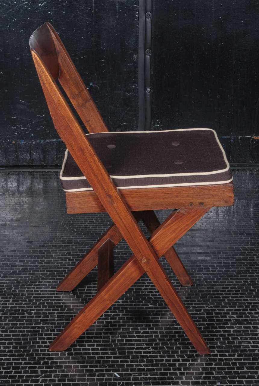 Indian Pierre Jeanneret Teak and Cane Library Chair For Sale