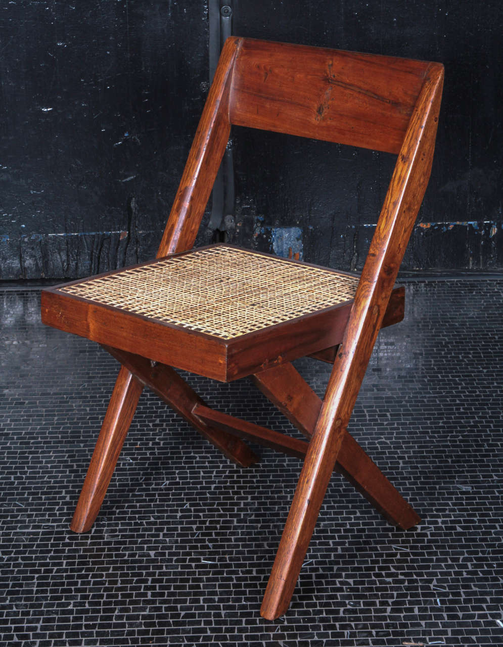 Pierre Jeanneret Teak and Cane Library Chair In Good Condition For Sale In New York, NY