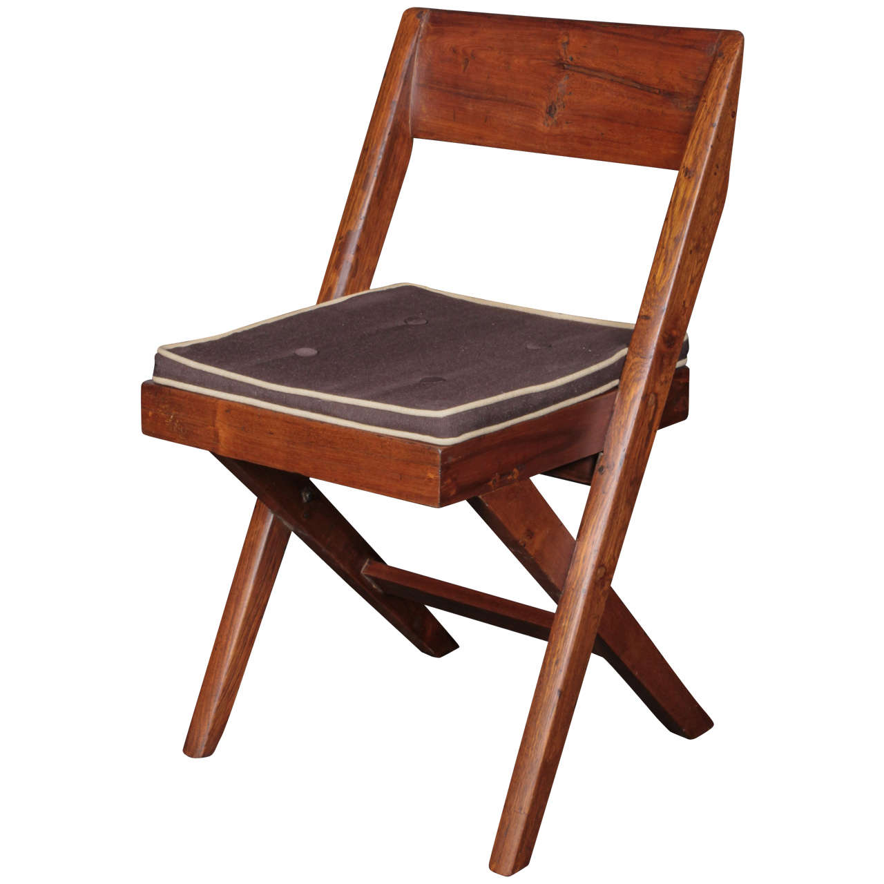 Pierre Jeanneret Teak and Cane Library Chair For Sale