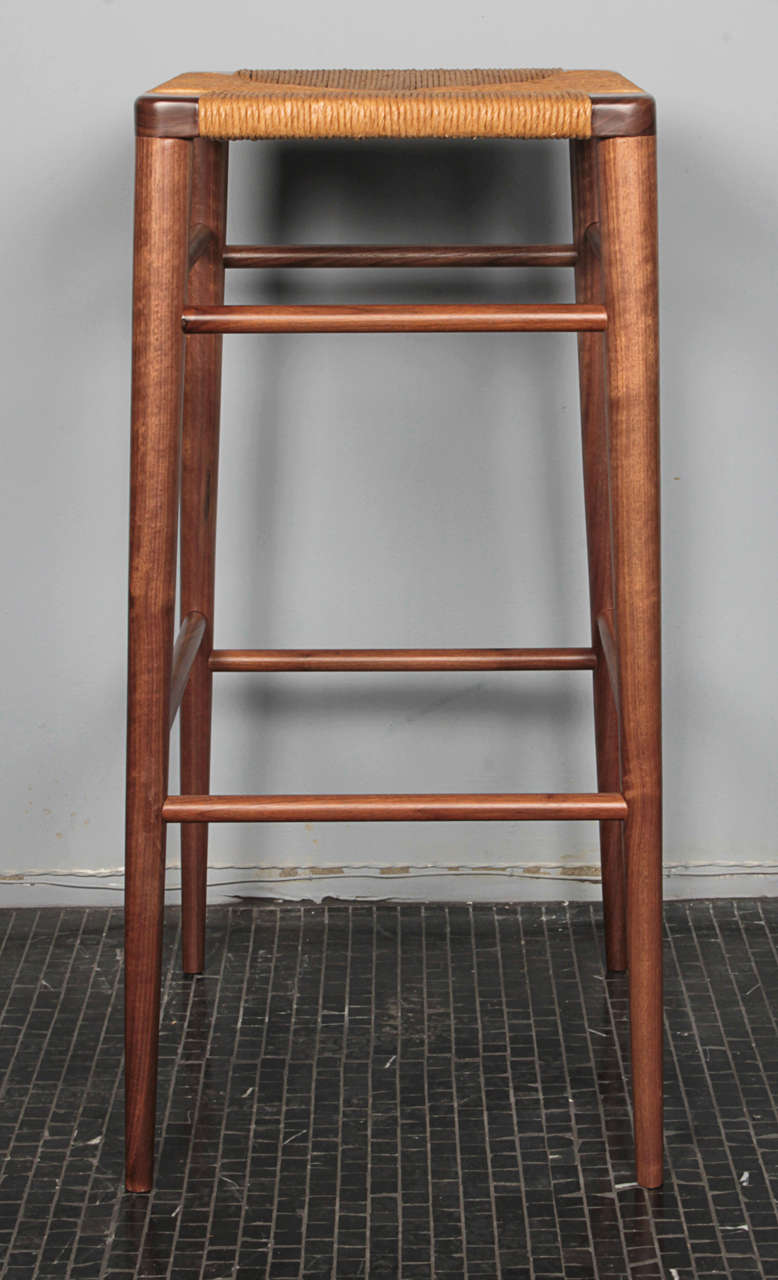 American Smilow Furniture, Walnut and Rush Bar Stool For Sale
