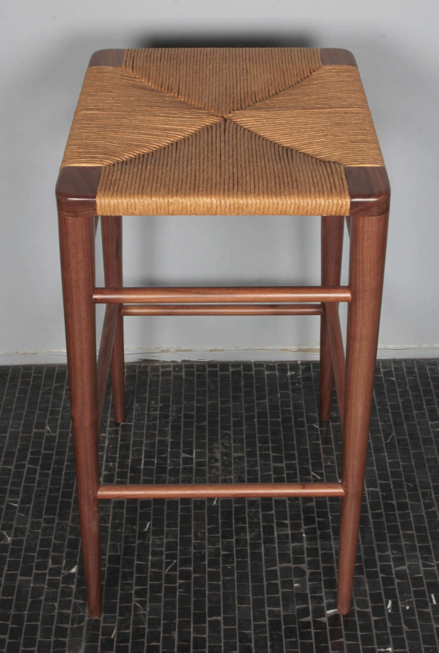 Smilow Furniture, Walnut and Rush Bar Stool In Excellent Condition For Sale In New York, NY