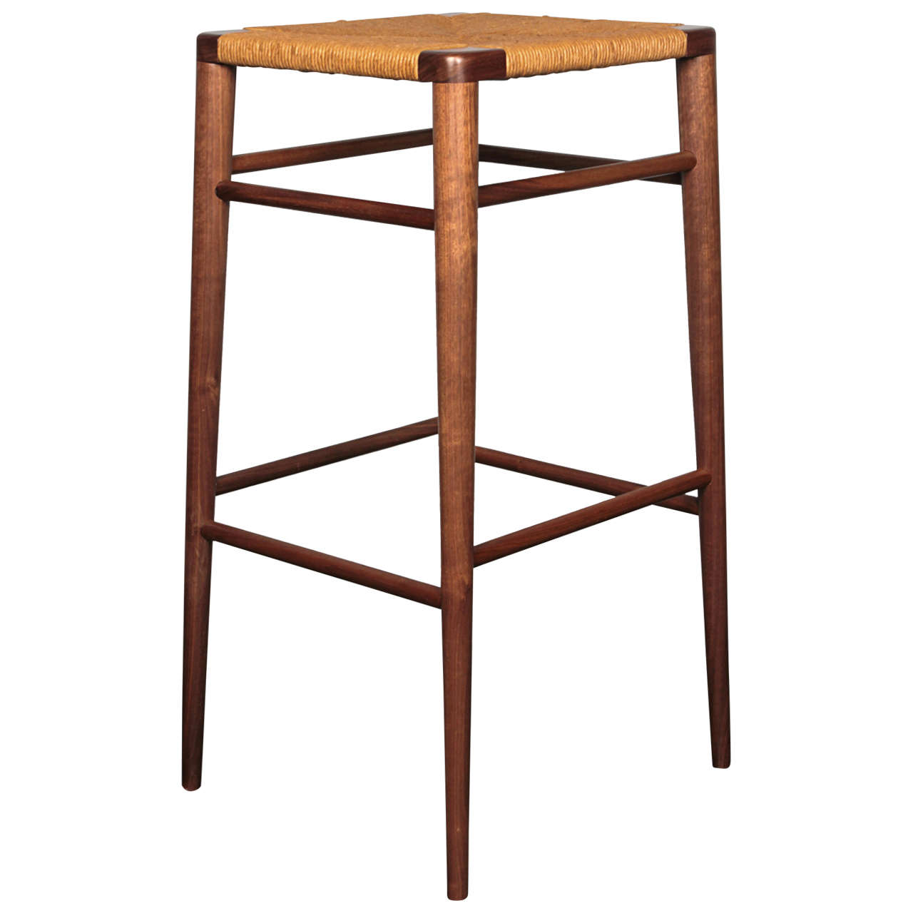 Smilow Furniture, Walnut and Rush Bar Stool For Sale at 1stdibs