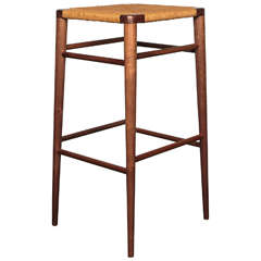 Smilow Furniture, Walnut and Rush Bar Stool