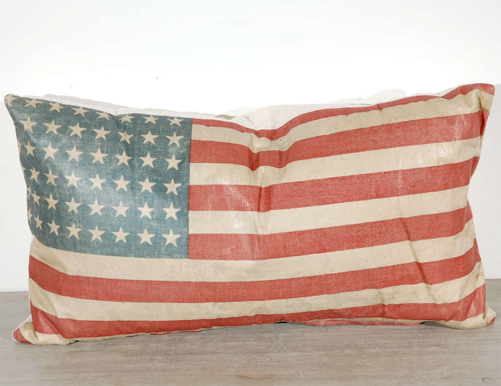 American Vintage 48 Star Oil Cloth Flag Pillows w/linen  Backing