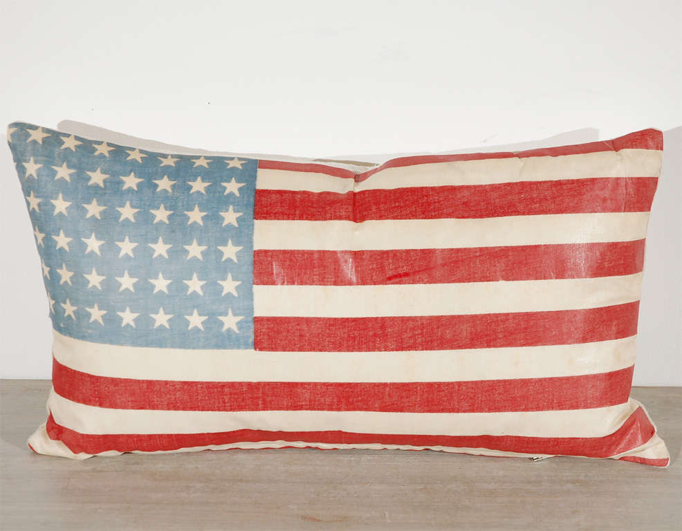 Mid-20th Century Vintage 48 Star Oil Cloth Flag Pillows w/linen  Backing