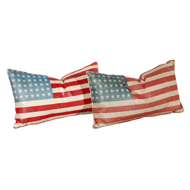 Vintage 48 Star Oil Cloth Flag Pillows w/linen  Backing