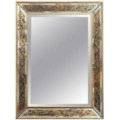 French Reverse Painted Mirror