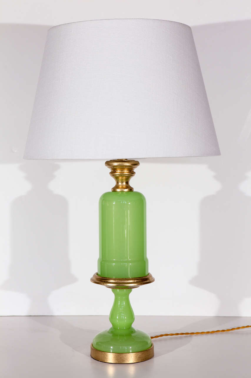 Lime Green, Opaline Lamps For Sale at 1stdibs