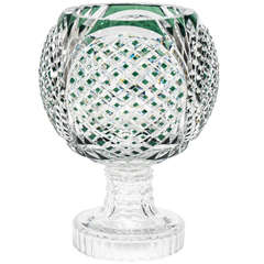 Signed Val St. Lambert Emerald Green Footed Centerpiece/Vase
