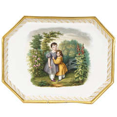 19th C. Schlaggenwald Hand Painted Porcelain Octagonal Tray
