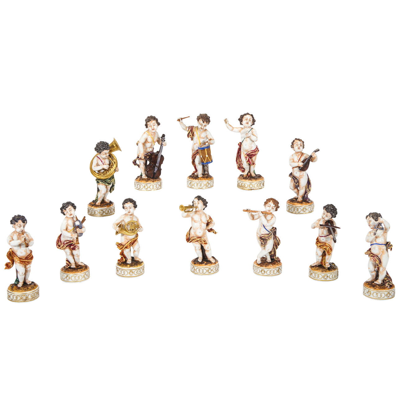 Complete Set of 12 Capo Di Monte Putti Figurines Depicting Musicians