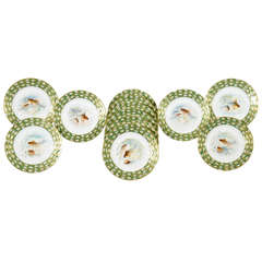 12 Hand Colored Fish Plates W/ Water Lily Aesthetic Movement Borders
