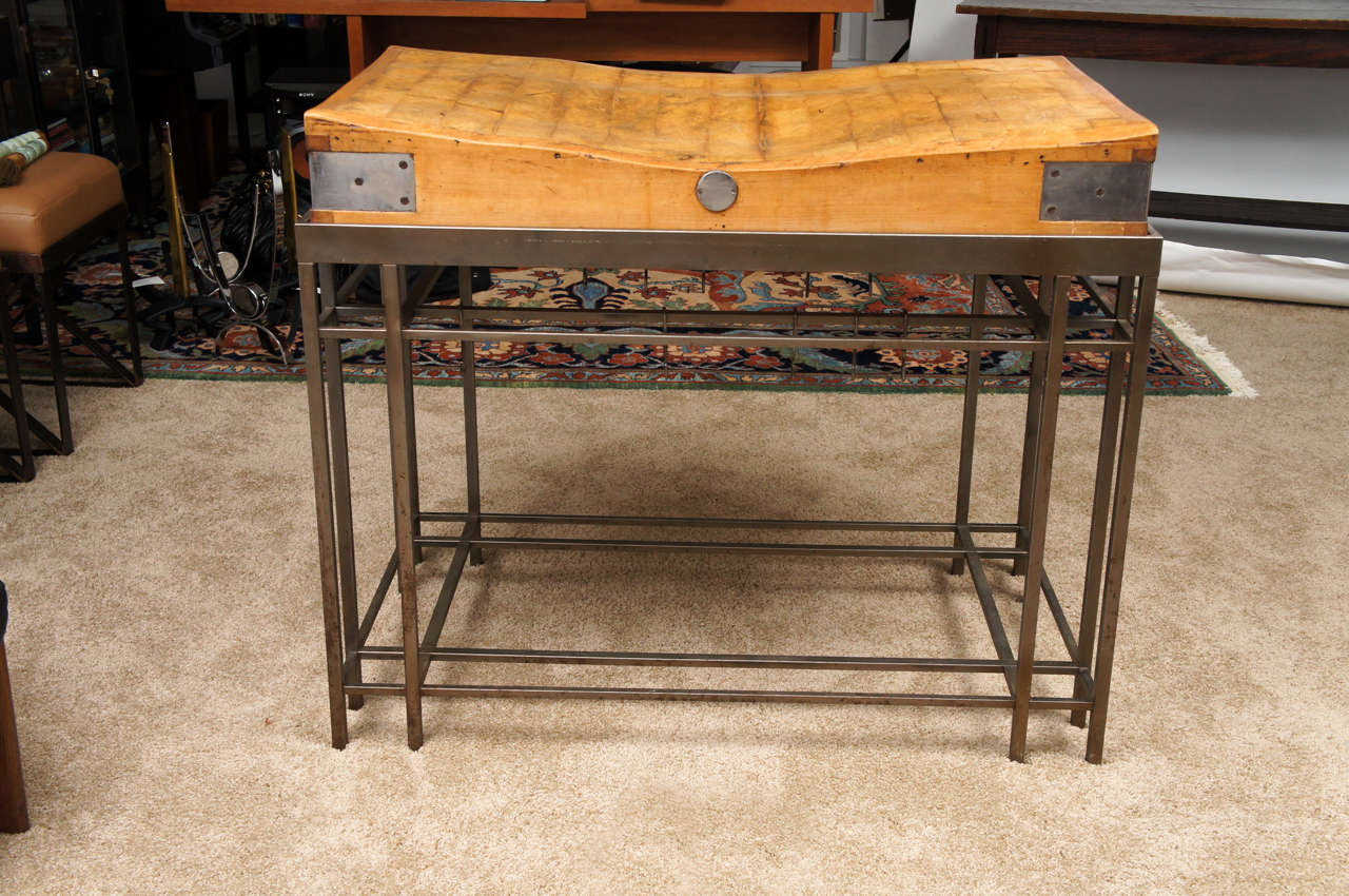 Carving Butcher Block Kitchen Island With Custom Steel