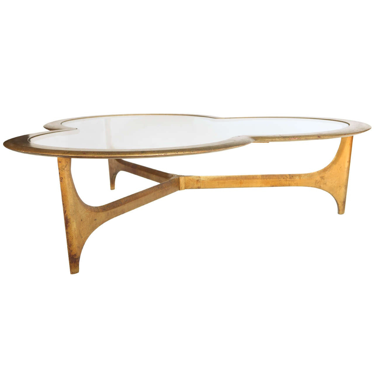 gold leaf and glass trefoil coffee table at 1stdibs
