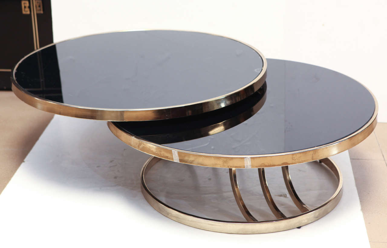 Italian Brass And Glass Swivel Coffee Table At 1stdibs
