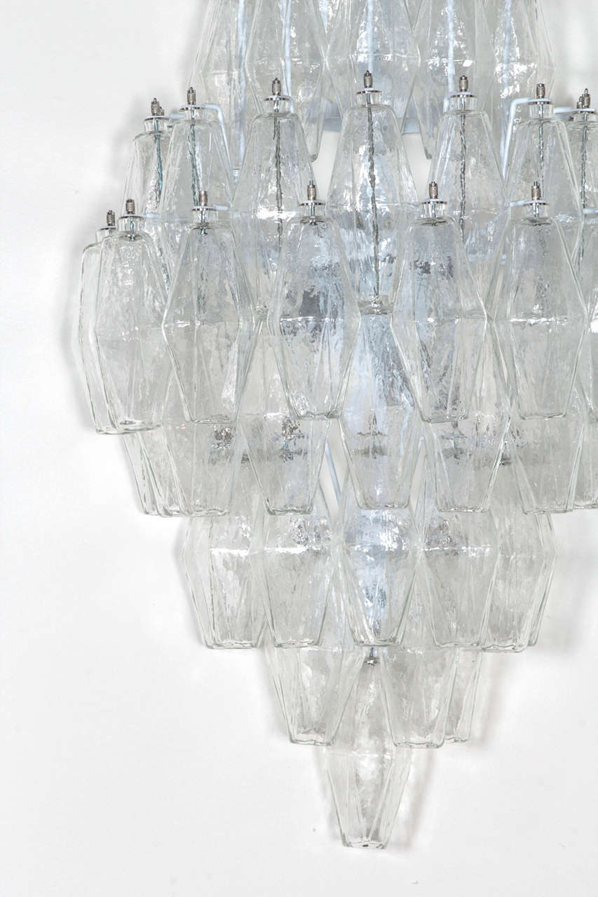 Pair of Venini Style Clear Glass Polyhedral Sconces  4