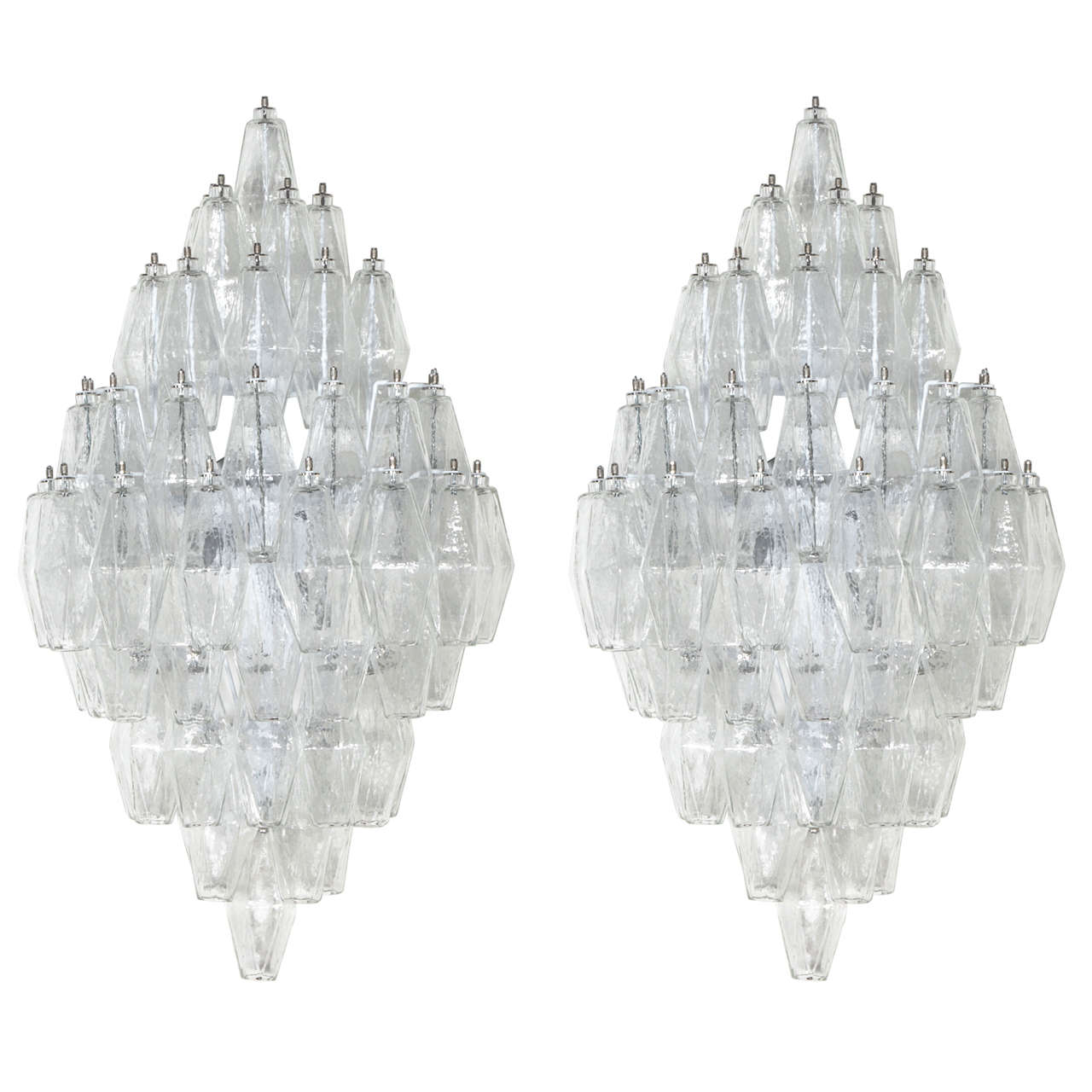 Pair of Venini Style Clear Glass Polyhedral Sconces  1