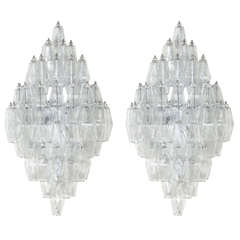 Pair of Venini Style Clear Glass Polyhedral Sconces