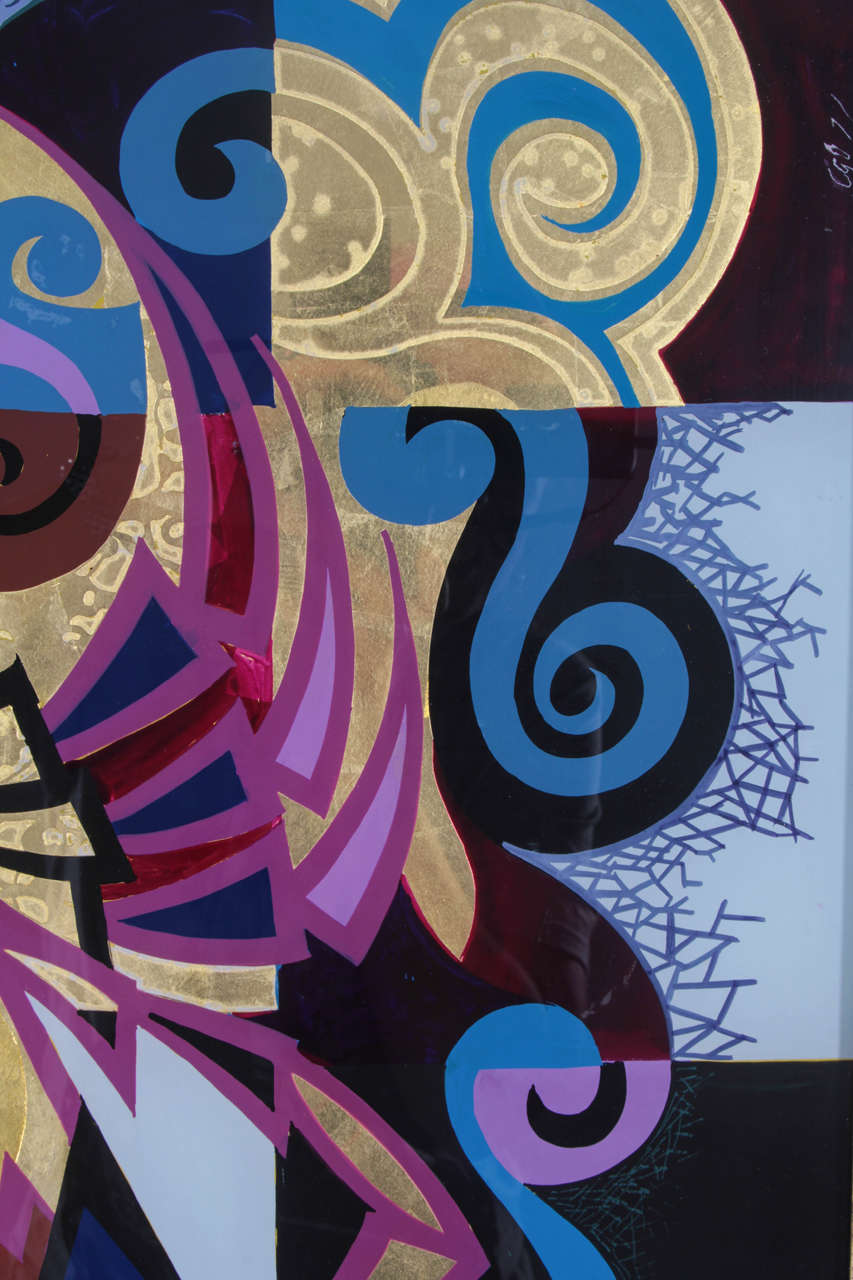 Pair of Reverse Painted Glass Paintings For Sale 5