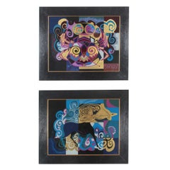 Pair of Reverse Painted Glass Paintings