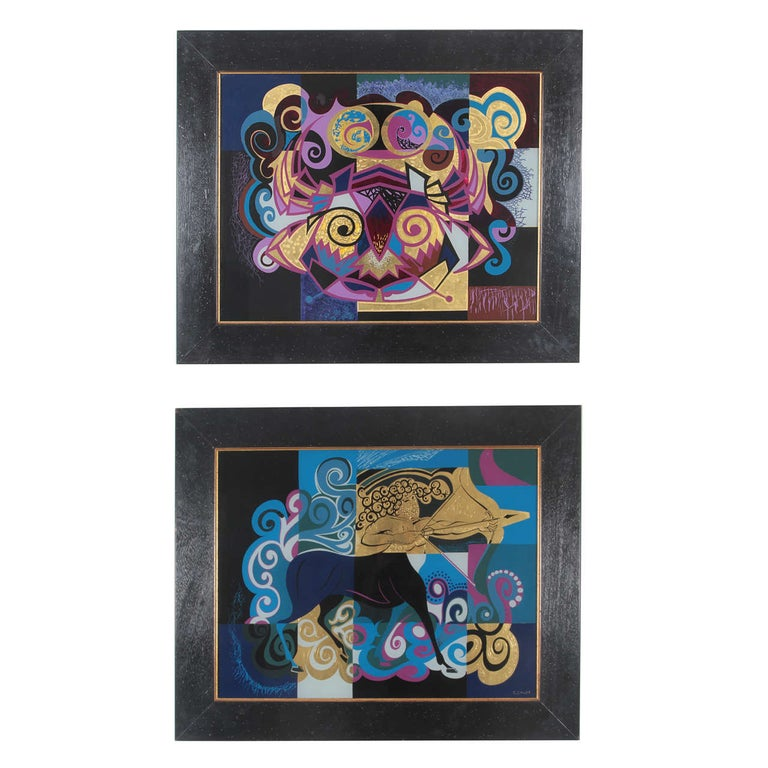 Pair of Reverse Painted Glass Paintings For Sale