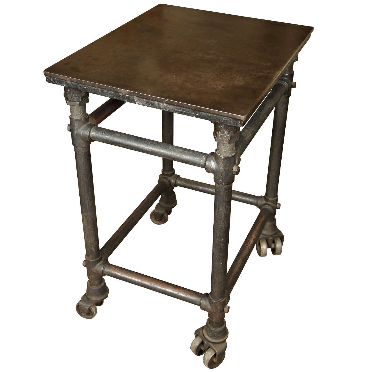 Industrial Coffee Table On Wheels At 1stdibs: Cast Iron Industrial Table With Dual Wheels At 1stdibs