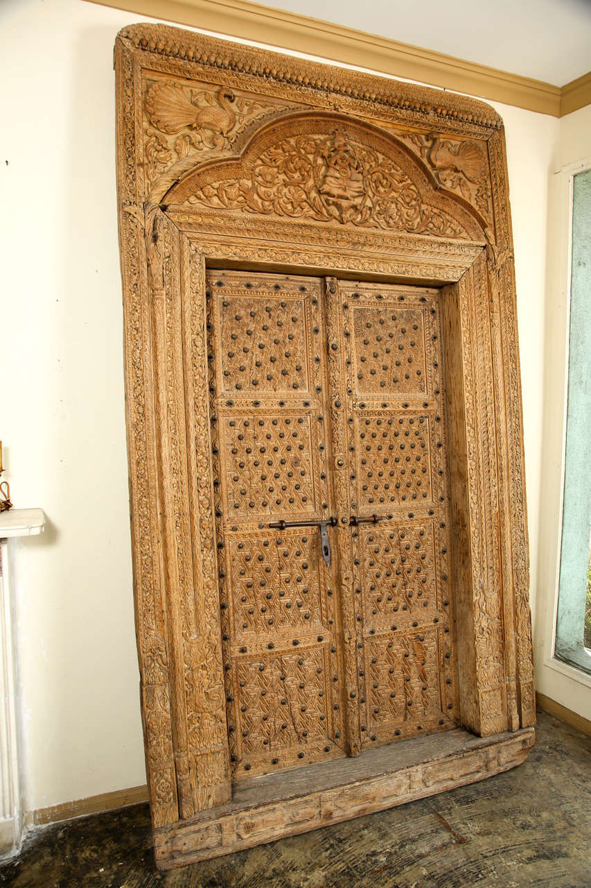 Ornately Carved Wood Door With Surround From India At 1stdibs