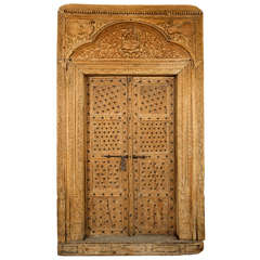 Ornately Carved Wood Door with Surround from India