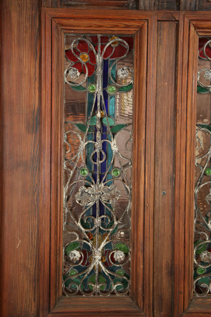 Heart Pine Entry Door With Stained Glass Windows Peacock