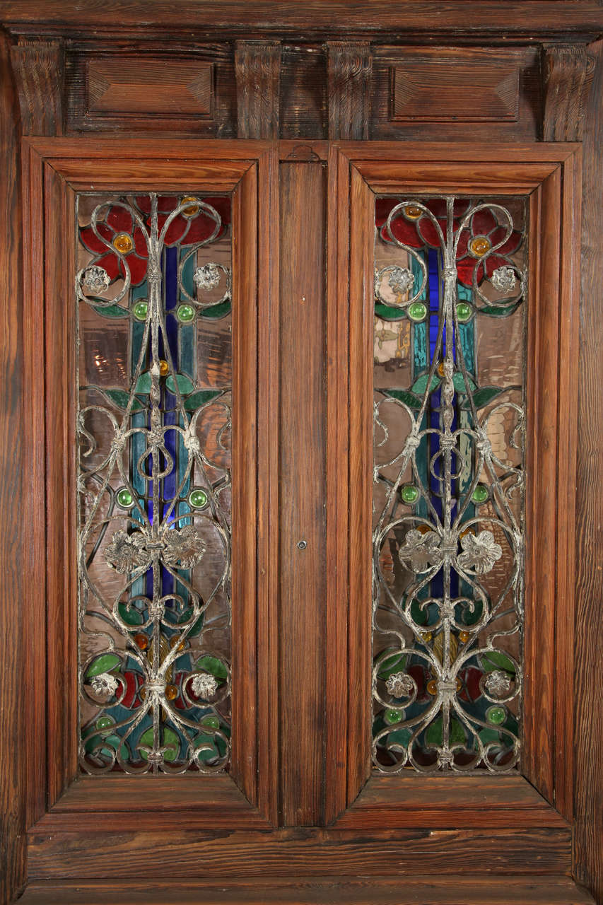 American Heart Pine Entry Door With Stained Glass Windows; Peacock Transom  For Sale