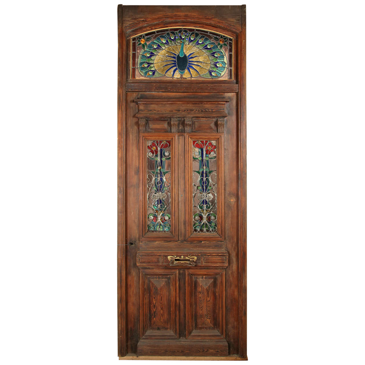 Heart Pine Entry Door with Stained Glass Windows; Peacock Transom For Sale - Heart Pine Entry Door With Stained Glass Windows; Peacock Transom At