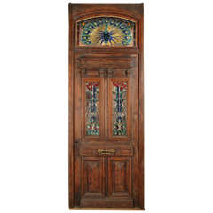 Heart Pine Entry Door with Stained Glass Windows; Peacock Transom