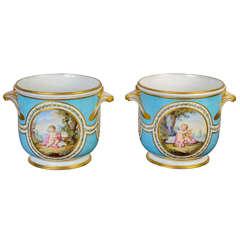 """Pair of """"Cache Pots"""" in Porcelain of Sèvres"""