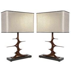 Pair of Bronze Sculptural Lamps by Peter Van Heeck