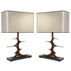 Pair of Bronze Sculptural Lamps by Peter Van Heeck