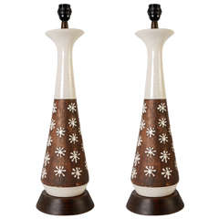Pair of Ceramic Lamps in the Style of Jean Besnard